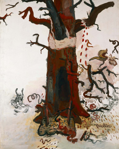 Georg Baselitz. <em>The Tree, </em>1966<em>.</em> Oil and crayon on canvas, 162 x 130 cm. Froehlich Collection, Stuttgart. Photo: Frank Oleski &copy; Georg Baselitz
